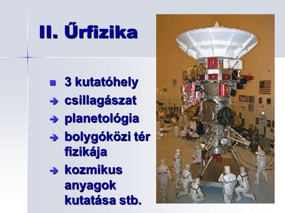 3 kutatóhely 3 kutatóhely è csillagászat è planetológia è bolygóközi tér fizikája è kozmikus anyagok kutatása stb. II. Űrfizika