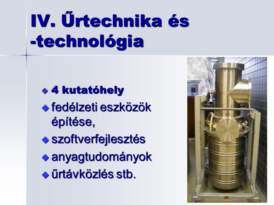 4 kutatóhely  fedélzeti eszközök építése,  szoftverfejlesztés  anyagtudományok  űrtávközlés stb. IV. Űrtechnika és -technológia
