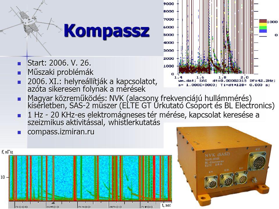 Kompassz Start: 2006. V. 26. Start: 2006. V. 26. Műszaki problémák Műszaki problémák 2006. XI.: helyreállítják a kapcsolatot, azóta sikeresen folynak