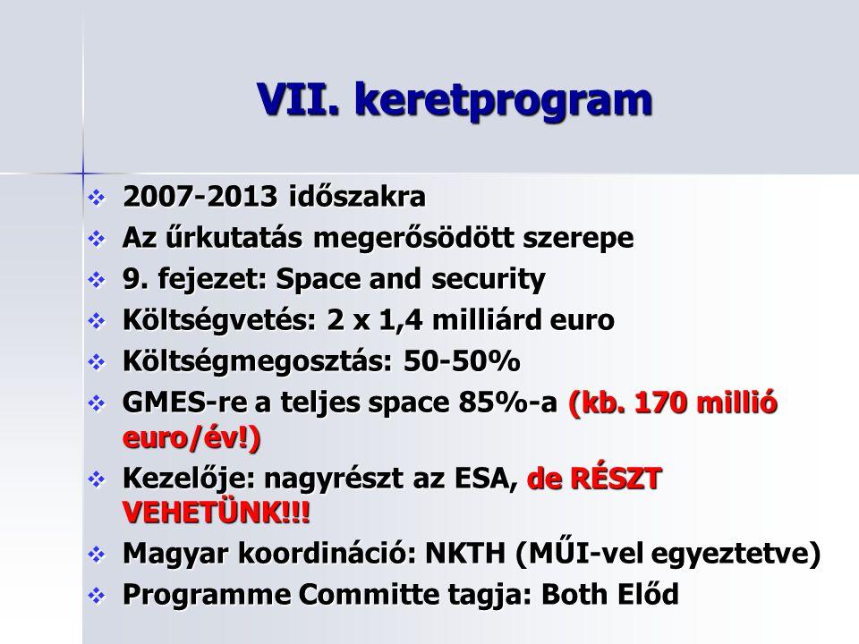 VII. keretprogram  2007-2013 időszakra  Az űrkutatás megerősödött szerepe  9. fejezet: Space and security  Költségvetés: 2 x 1,4 milliárd euro  K