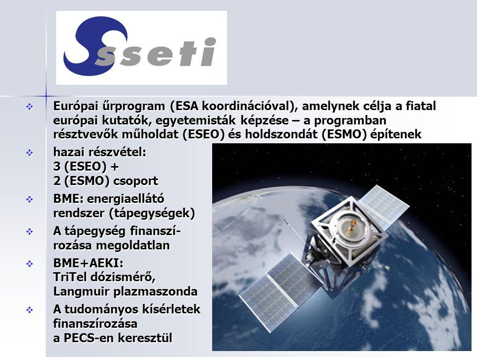  Európai űrprogram (ESA koordinációval), amelynek célja a fiatal európai kutatók, egyetemisták képzése – a programban résztvevők műholdat (ESEO) és h