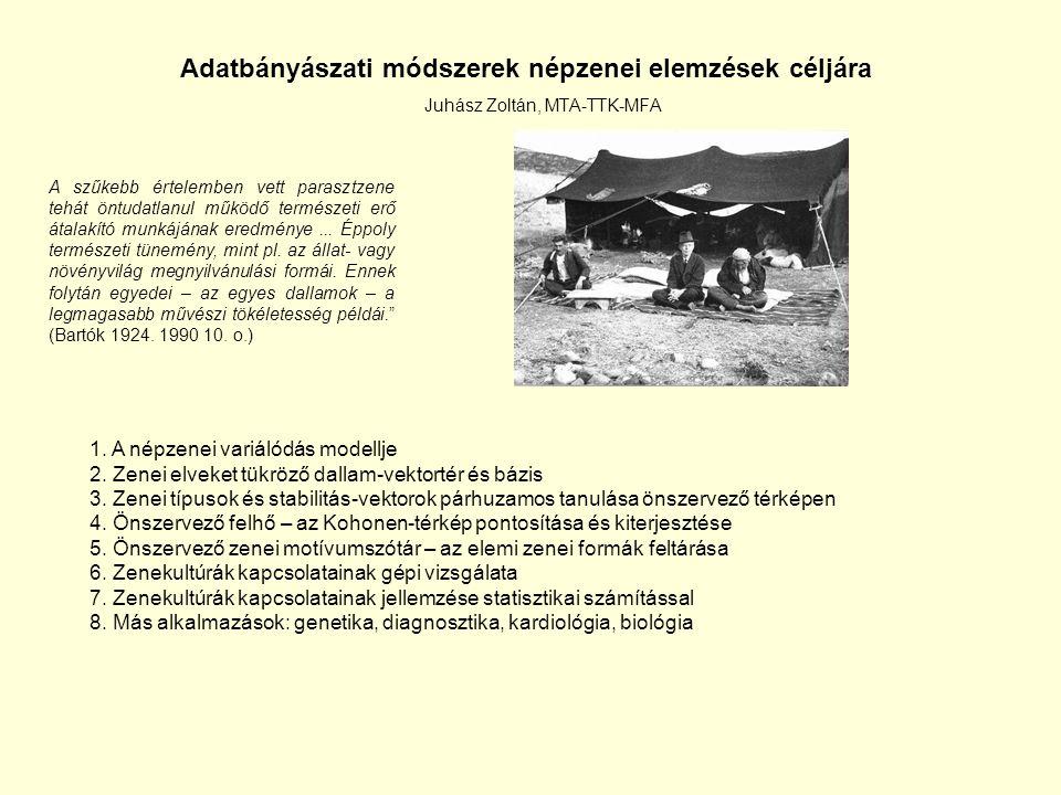 Adatbányászati módszerek népzenei elemzések céljára Juhász Zoltán, MTA-TTK-MFA A szűkebb értelemben vett parasztzene tehát öntudatlanul működő termész