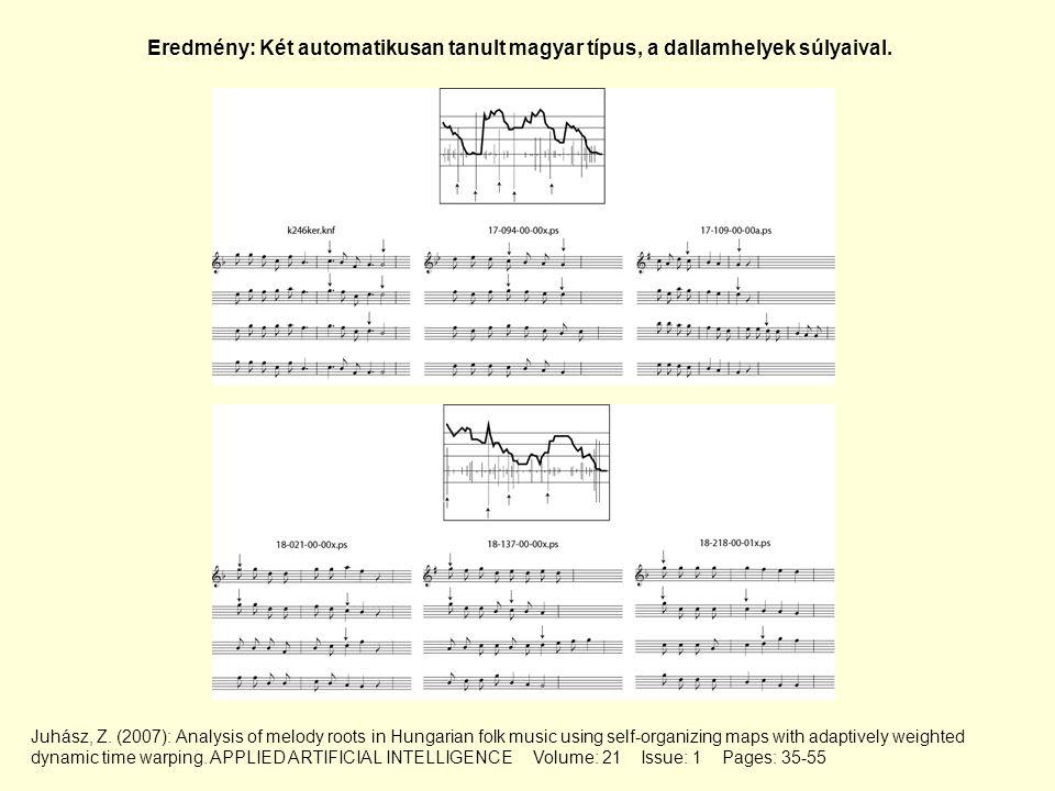 Eredmény: Két automatikusan tanult magyar típus, a dallamhelyek súlyaival. Juhász, Z. (2007): Analysis of melody roots in Hungarian folk music using s