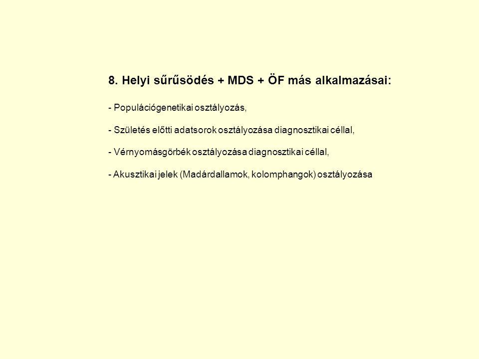 8. Helyi sűrűsödés + MDS + ÖF más alkalmazásai: - Populációgenetikai osztályozás, Populációgenetikai osztályozás, - Születés előtti adatsorok osztályo