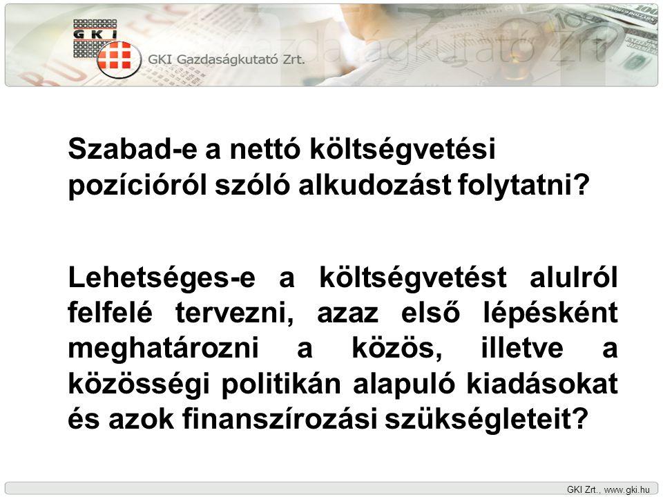 GKI Zrt., www.gki.hu Milyen európai közjavakat kell az EU szintjén finanszírozni.