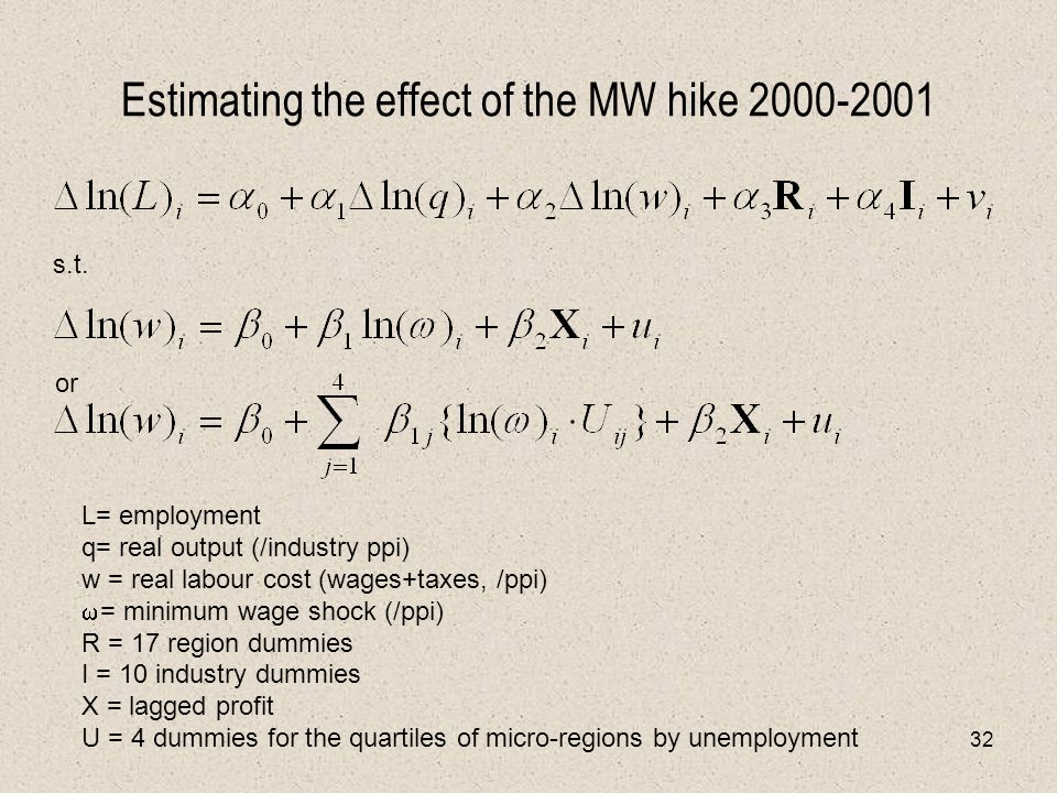 32 Estimating the effect of the MW hike 2000-2001 L= employment q= real output (/industry ppi) w = real labour cost (wages+taxes, /ppi)  = minimum wage shock (/ppi) R = 17 region dummies I = 10 industry dummies X = lagged profit U = 4 dummies for the quartiles of micro-regions by unemployment s.t.