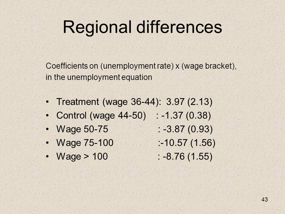 43 Regional differences Coefficients on (unemployment rate) x (wage bracket), in the unemployment equation Treatment (wage 36-44): 3.97 (2.13) Control (wage 44-50) : -1.37 (0.38) Wage 50-75 : -3.87 (0.93) Wage 75-100 :-10.57 (1.56) Wage > 100 : -8.76 (1.55)