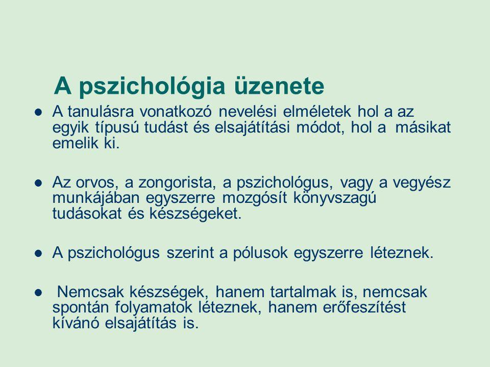 A pszichológia üzenete A tanulásra vonatkozó nevelési elméletek hol a az egyik típusú tudást és elsajátítási módot, hol a másikat emelik ki. Az orvos,