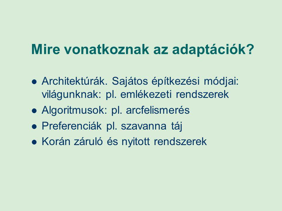 Mire vonatkoznak az adaptációk? Architektúrák. Sajátos építkezési módjai: világunknak: pl. emlékezeti rendszerek Algoritmusok: pl. arcfelismerés Prefe