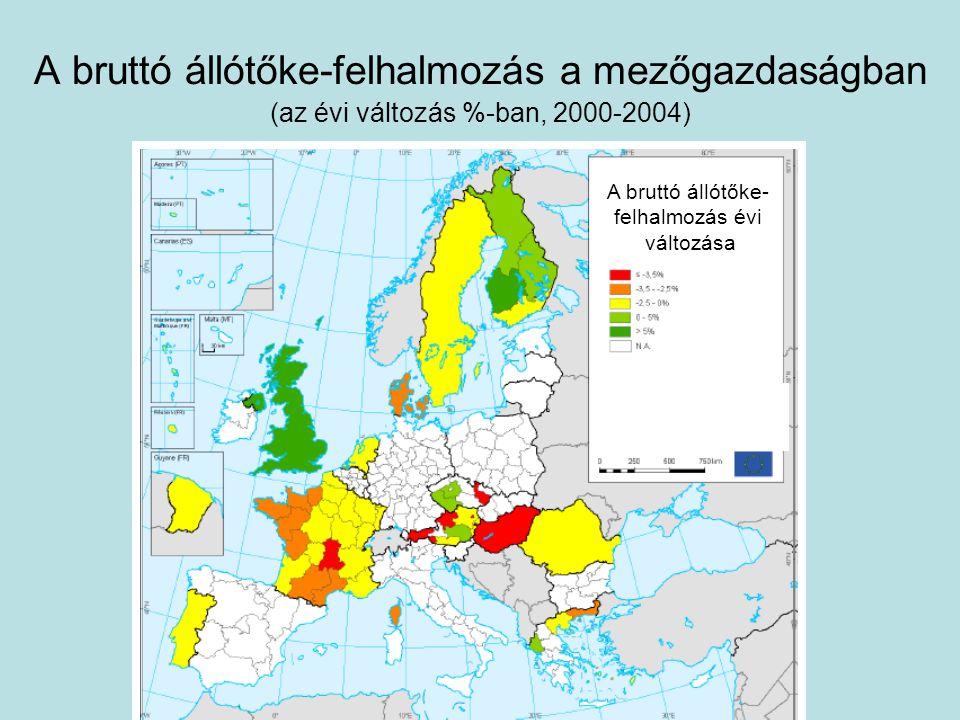 A bruttó állótőke-felhalmozás a mezőgazdaságban (az évi változás %-ban, 2000-2004) A bruttó állótőke- felhalmozás évi változása