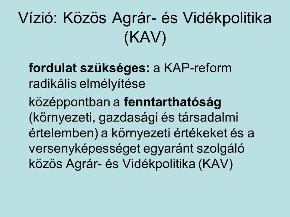 Vízió: Közös Agrár- és Vidékpolitika (KAV) fordulat szükséges: a KAP-reform radikális elmélyítése középpontban a fenntarthatóság (környezeti, gazdasági és társadalmi értelemben) a környezeti értékeket és a versenyképességet egyaránt szolgáló közös Agrár- és Vidékpolitika (KAV)