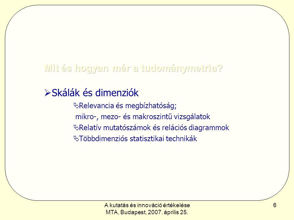 A kutatás és innováció értékelése MTA, Budapest, 2007. április 25. 6 Mit és hogyan mér a tudománymetria?  Skálák és dimenziók  Relevancia és megbízh