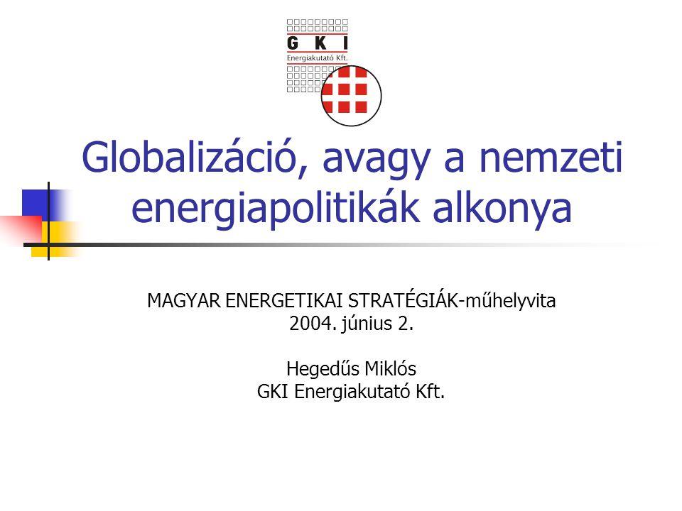 Globalizáció, avagy a nemzeti energiapolitikák alkonya MAGYAR ENERGETIKAI STRATÉGIÁK-műhelyvita 2004. június 2. Hegedűs Miklós GKI Energiakutató Kft.