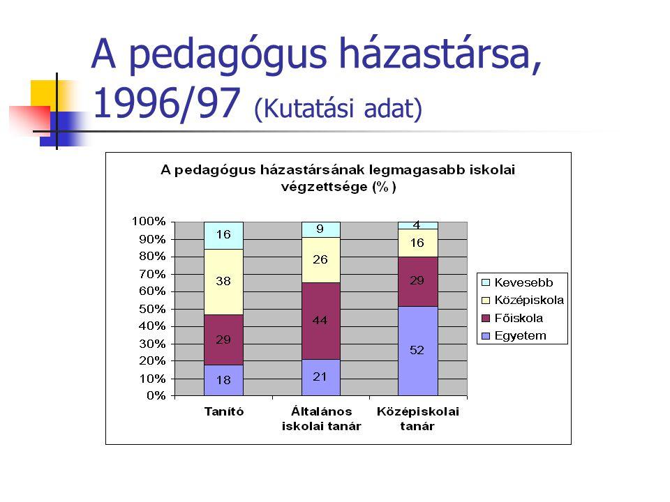 A pedagógus házastársa, 1996/97 (Kutatási adat)