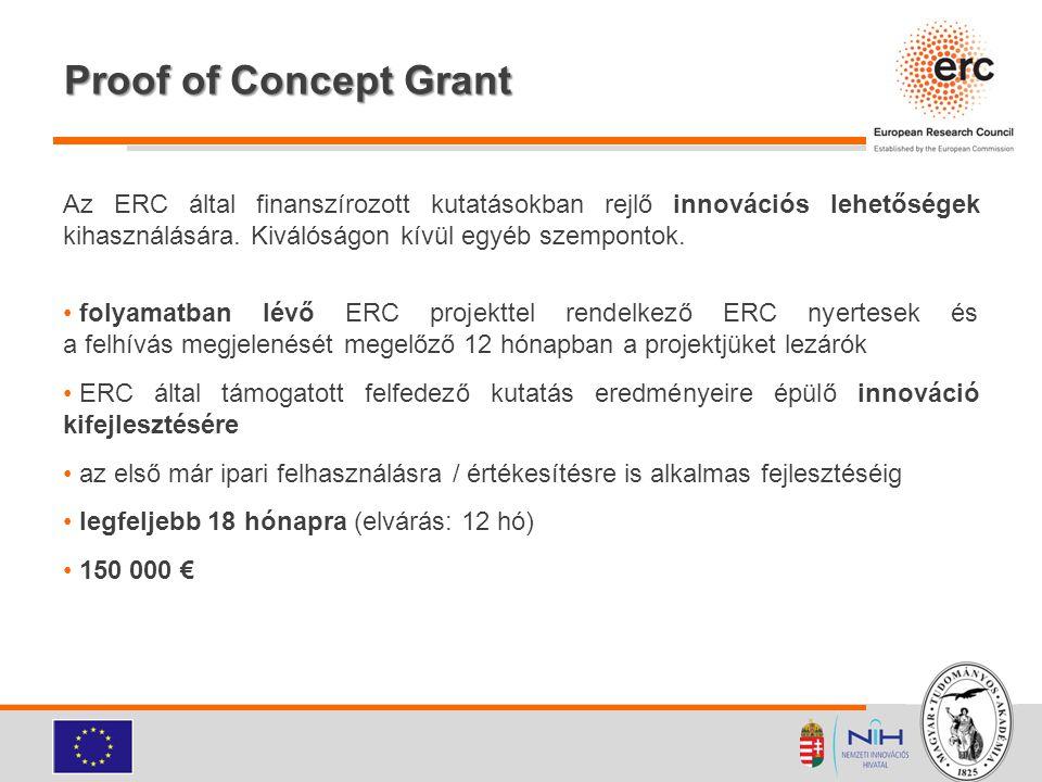 Proof of Concept Grant Az ERC által finanszírozott kutatásokban rejlő innovációs lehetőségek kihasználására. Kiválóságon kívül egyéb szempontok. folya
