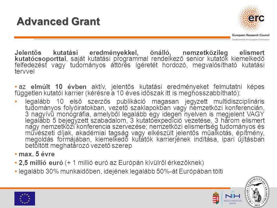 Advanced Grant Jelentős kutatási eredményekkel, önálló, nemzetközileg elismert kutatócsoporttal, saját kutatási programmal rendelkező senior kutatók k