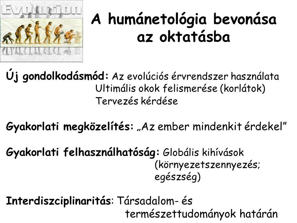 """A humánetológia bevonása az oktatásba Új gondolkodásmód: Az evolúciós érvrendszer használata Ultimális okok felismerése (korlátok) Tervezés kérdése Gyakorlati megközelítés: """"Az ember mindenkit érdekel Gyakorlati felhasználhatóság: Globális kihívások (környezetszennyezés; egészség) Interdiszciplinaritás: Társadalom- és természettudományok határán"""