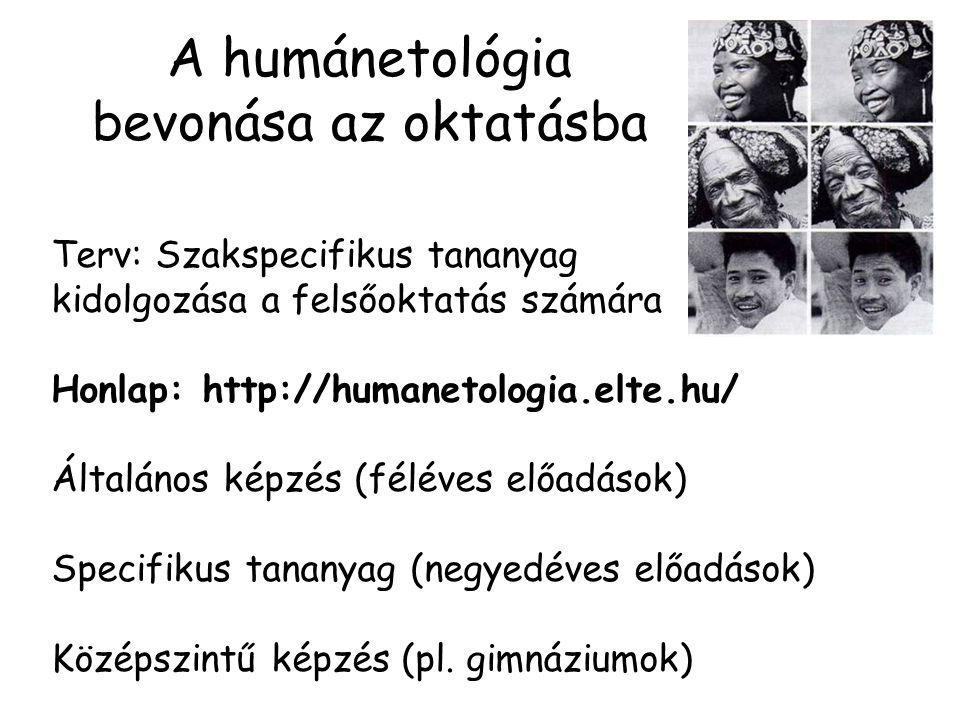 A humánetológia bevonása az oktatásba Terv: Szakspecifikus tananyag kidolgozása a felsőoktatás számára Honlap: http://humanetologia.elte.hu/ Általános képzés (féléves előadások) Specifikus tananyag (negyedéves előadások) Középszintű képzés (pl.