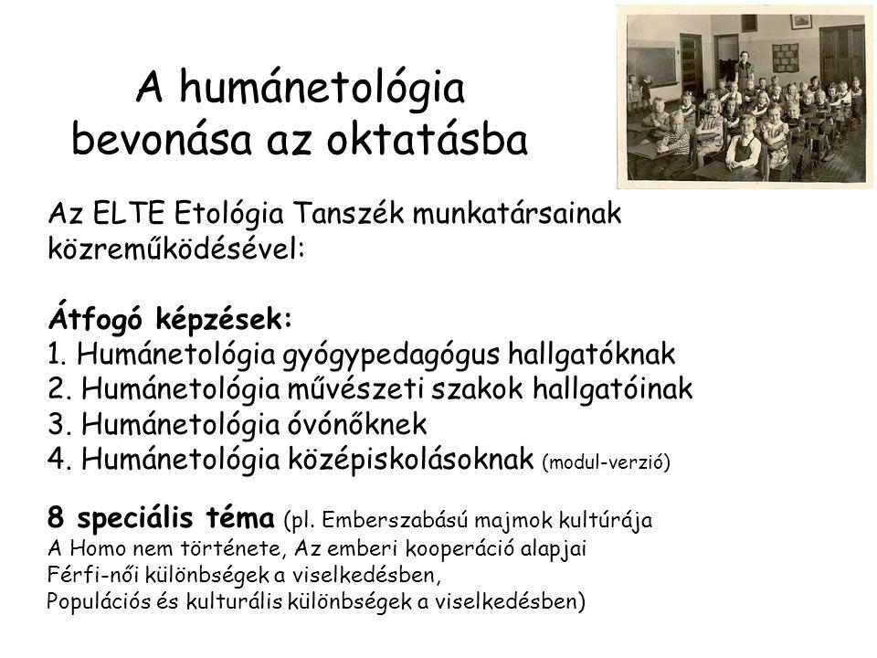 A humánetológia bevonása az oktatásba Az ELTE Etológia Tanszék munkatársainak közreműködésével: Átfogó képzések: 1.
