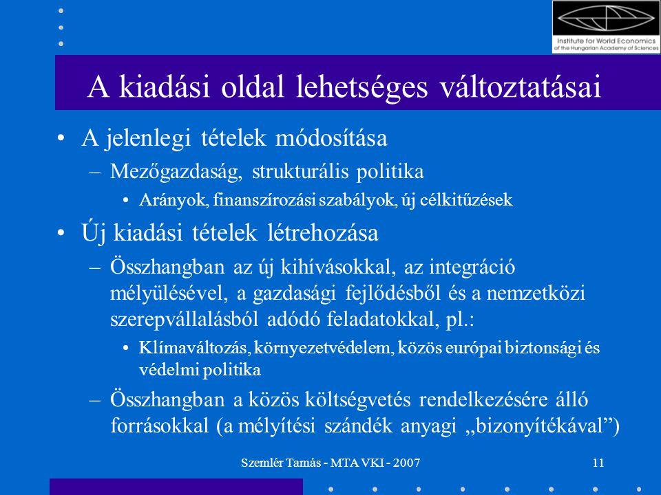 Szemlér Tamás - MTA VKI - 200711 A kiadási oldal lehetséges változtatásai A jelenlegi tételek módosítása –Mezőgazdaság, strukturális politika Arányok,