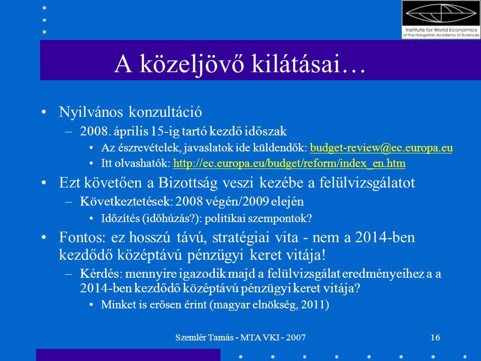 Szemlér Tamás - MTA VKI - 200716 A közeljövő kilátásai… Nyilvános konzultáció –2008. április 15-ig tartó kezdő időszak Az észrevételek, javaslatok ide