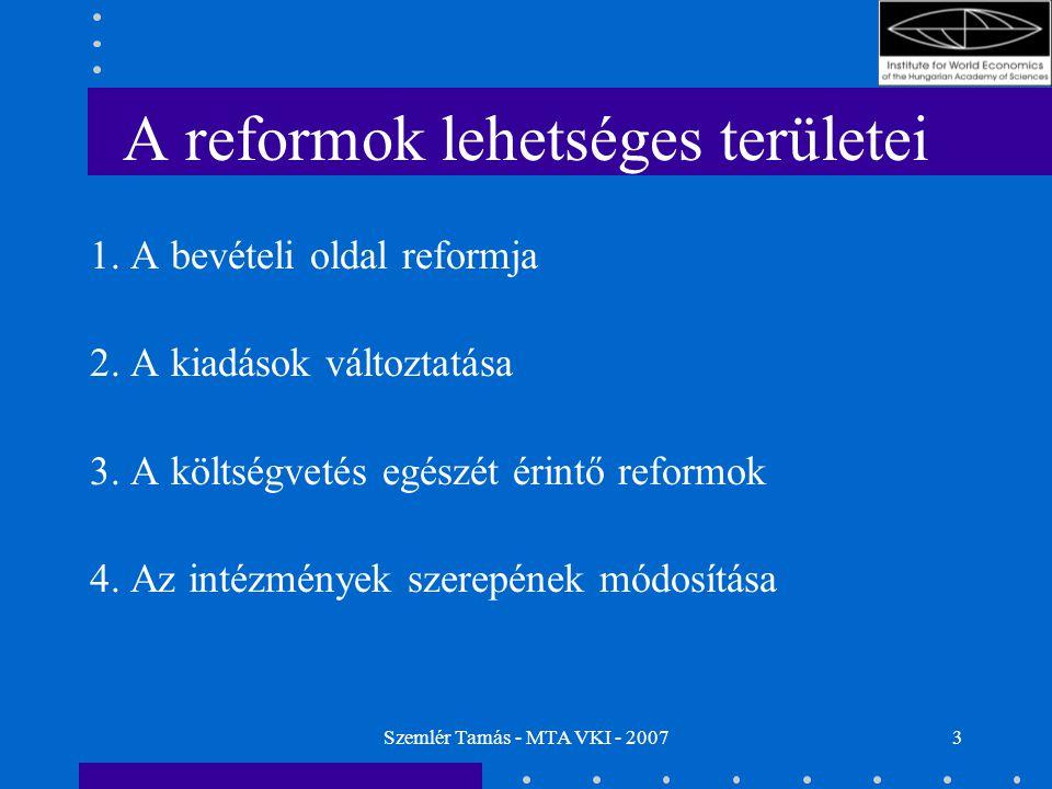 """Szemlér Tamás - MTA VKI - 200714 A költségvetés egészét érintő reformok (3) A költségvetés """"nettósítása –Előnyök: Kisebb összegek, áttekinthetőbb pénzáramlás A transzfereket meghatározó szabályok közösségi szinten tarthatók A regionális politikában növekedhet a nemzeti hatáskör (szubszidiaritás) –Hátrányok, problémák: Egyes tagországok ellenkezése (a hozzájárulások belpolitikai szinten jobban """"eladhatóak , ha komolyabb részesedés is felmutatható) A régiók nem mindenhol örülnének a nemzeti hatáskör növekedésének"""