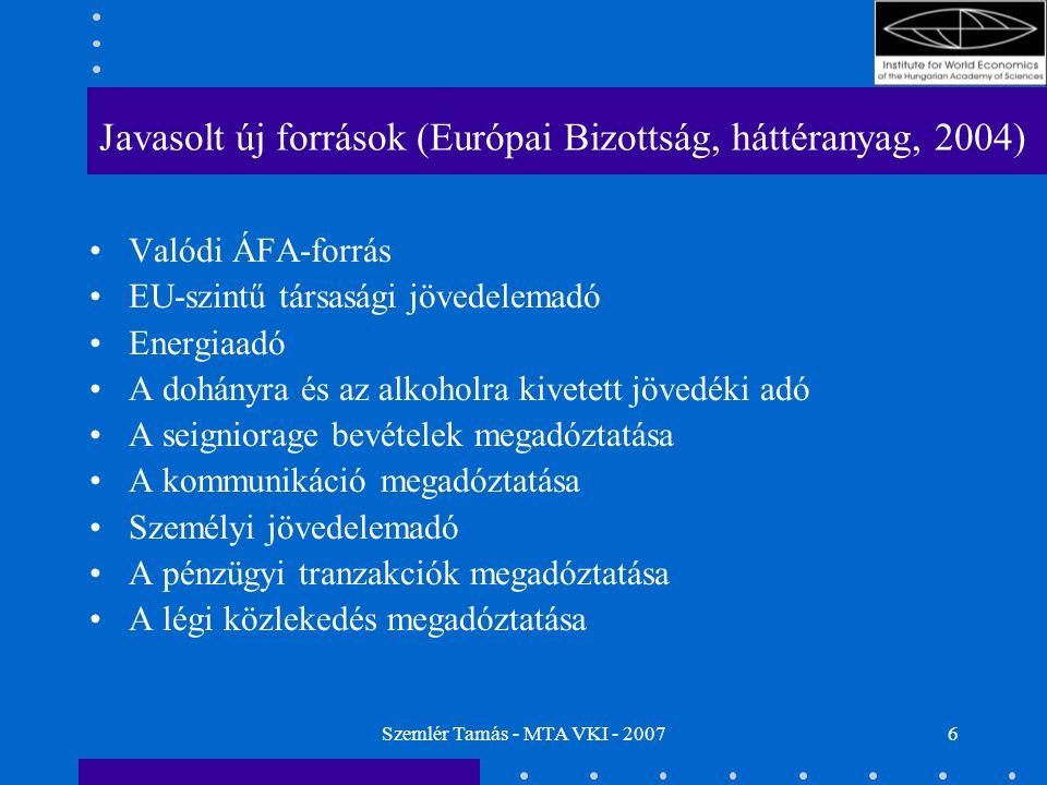 Szemlér Tamás - MTA VKI - 20076 Javasolt új források (Európai Bizottság, háttéranyag, 2004) Valódi ÁFA-forrás EU-szintű társasági jövedelemadó Energia