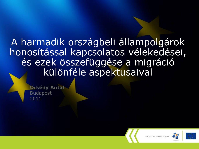 A magyar nyelv ismerete és a nyelvtudás fontosságának megítélése honosítás szándéka szerint, százalék A határon túli magyarok nélkül Nem akar állampolgárságot Szeretne állampolgárságot nem tud és nem is akar 31,7%14,3% nem tud, de akar 51,1%45,5% tud 17,2%40,2% Összesen 100,0%