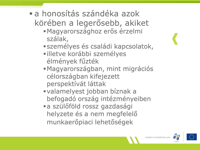  a honosítás szándéka azok körében a legerősebb, akiket  Magyarországhoz erős érzelmi szálak,  személyes és családi kapcsolatok,  illetve korábbi személyes élmények fűzték  Magyarországban, mint migrációs célországban kifejezett perspektívát láttak  valamelyest jobban bíznak a befogadó ország intézményeiben  a szülőföld rossz gazdasági helyzete és a nem megfelelő munkaerőpiaci lehetőségek