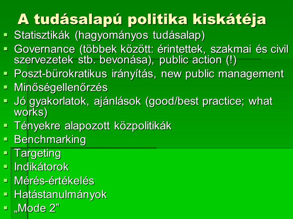 A tudásalapú politika kiskátéja  Statisztikák (hagyományos tudásalap)  Governance (többek között: érintettek, szakmai és civil szervezetek stb. bevo