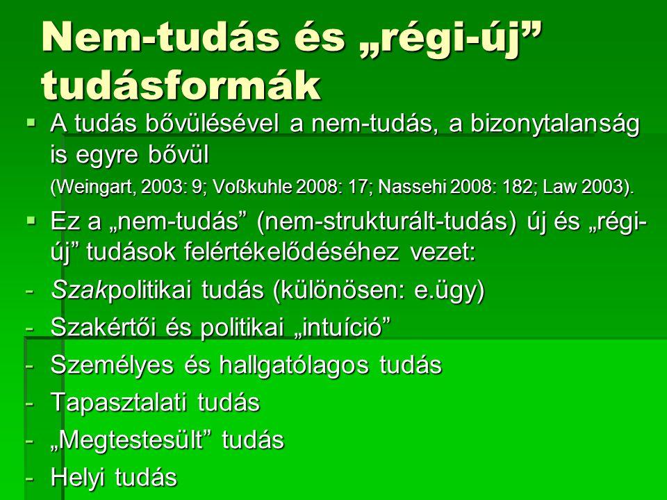 """Nem-tudás és """"régi-új"""" tudásformák  A tudás bővülésével a nem-tudás, a bizonytalanság is egyre bővül (Weingart, 2003: 9; Voßkuhle 2008: 17; Nassehi 2"""