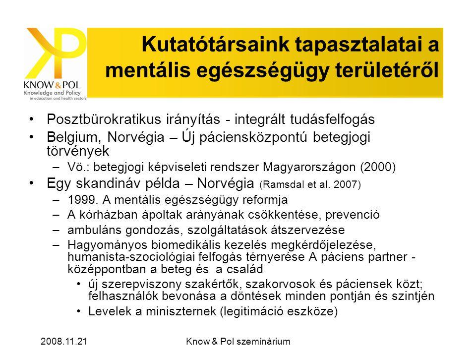 2008.11.21Know & Pol szeminárium Kutatótársaink tapasztalatai a mentális egészségügy területéről Posztbürokratikus irányítás - integrált tudásfelfogás Belgium, Norvégia – Új páciensközpontú betegjogi törvények –Vö.: betegjogi képviseleti rendszer Magyarországon (2000) Egy skandináv példa – Norvégia (Ramsdal et al.