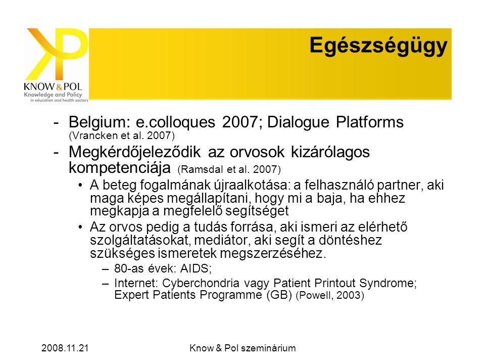 2008.11.21Know & Pol szeminárium Egészségügy -Belgium: e.colloques 2007; Dialogue Platforms (Vrancken et al.