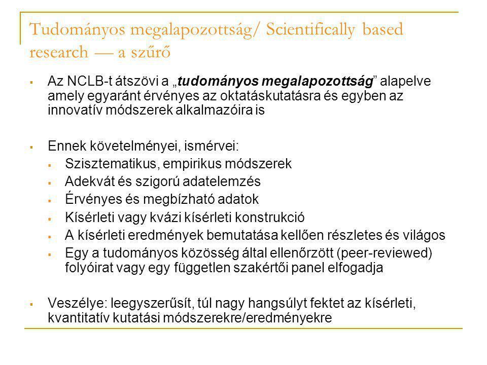 """Tudományos megalapozottság/ Scientifically based research — a szűrő  Az NCLB-t átszövi a """"tudományos megalapozottság"""" alapelve amely egyaránt érvénye"""
