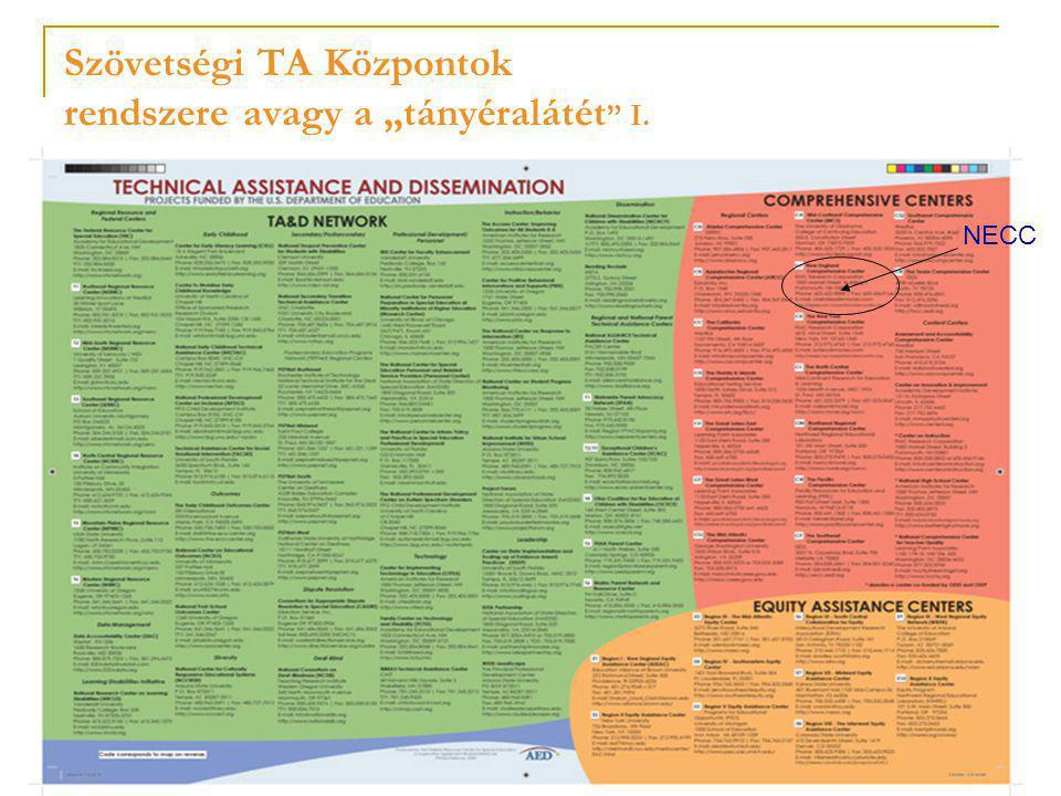 """Szövetségi TA Központok rendszere avagy a """"tányéralátét II: magyarázat  Jellemzők:  Szövetségi forrásokból, két minisztériumi hivatal ellenőrzése alatt  Működtetés pályázat útján, a kliensek számára ingyenes  Típusaik:  6 RRC központ: fogyatékos gyerekekkel kapcsolatos témák  6+1 PTA: fogyatékos gyerekek szülei számára  10 EAC : egyenlő bánásmód biztosítása  21 CC avagy komprehenzív központ:16 regionális (comprehensive center), és 5 tartalmi (content center) -- állami hivatalok kapacitásának építése  Különböző témák köré szerveződő egyéb központok pl.: továbbképzés, technológia, oktatásirányítás, kora-gyerekkor"""