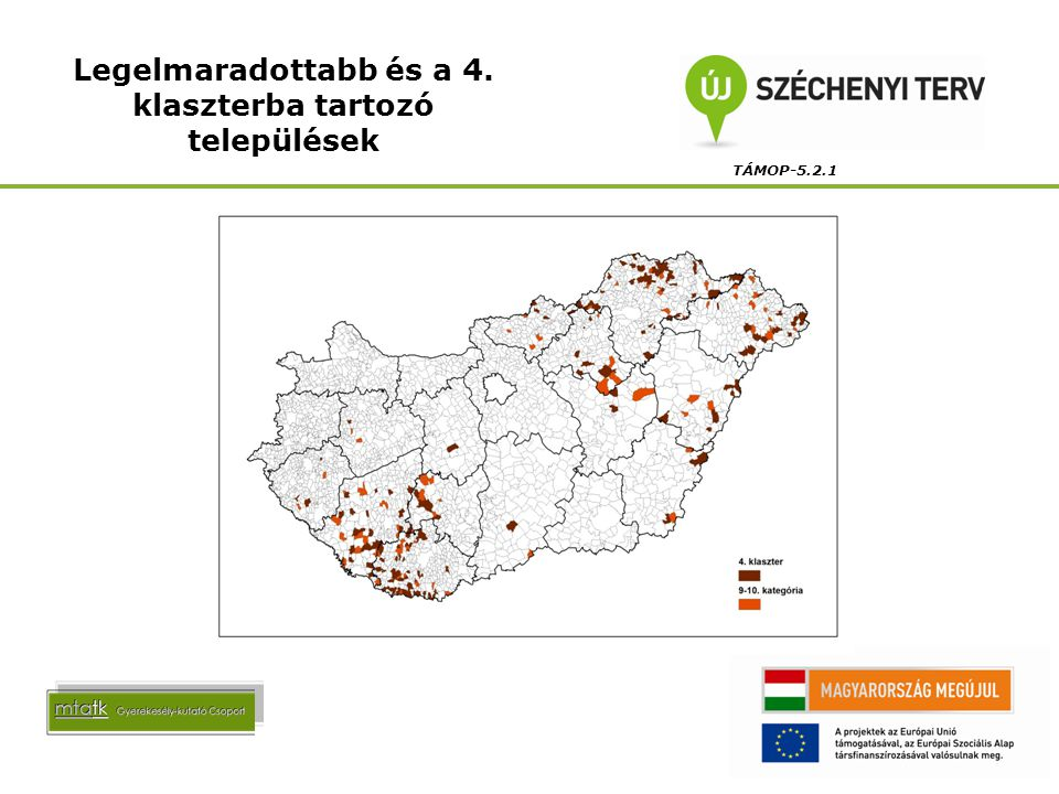 Legelmaradottabb és a 4. klaszterba tartozó települések TÁMOP-5.2.1