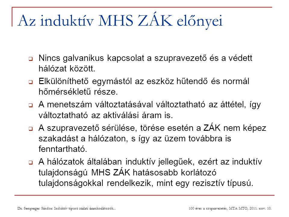 Az induktív MHS ZÁK előnyei  Nincs galvanikus kapcsolat a szupravezető és a védett hálózat között.