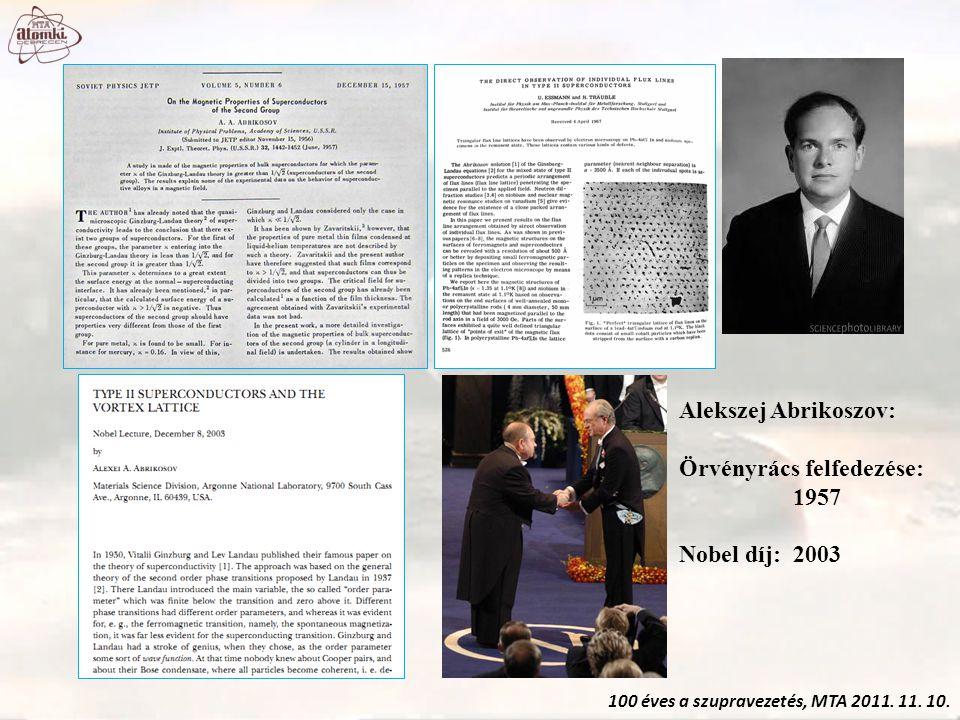 100 éves a szupravezetés, MTA 2011. 11. 10. Alekszej Abrikoszov: Örvényrács felfedezése: 1957 Nobel díj: 2003