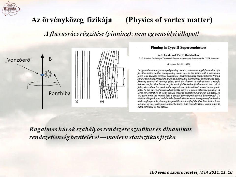 100 éves a szupravezetés, MTA 2011. 11. 10. Az örvényközeg fizikája(Physics of vortex matter) A fluxusrács rögzítése (pinning): nem egyensúlyi állapot