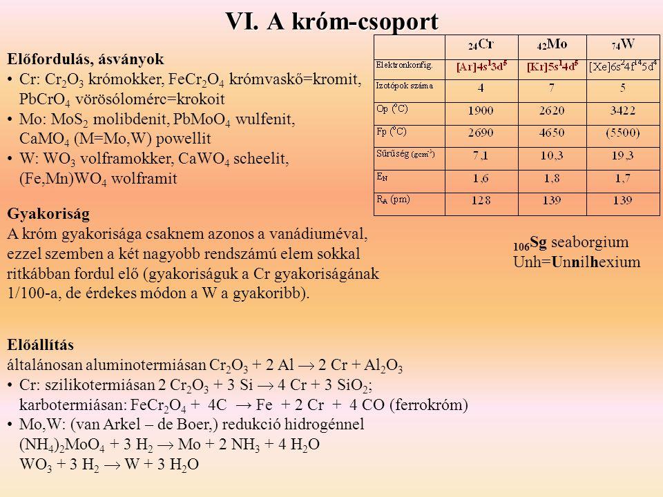 Gyakoriság A króm gyakorisága csaknem azonos a vanádiuméval, ezzel szemben a két nagyobb rendszámú elem sokkal ritkábban fordul elő (gyakoriságuk a Cr