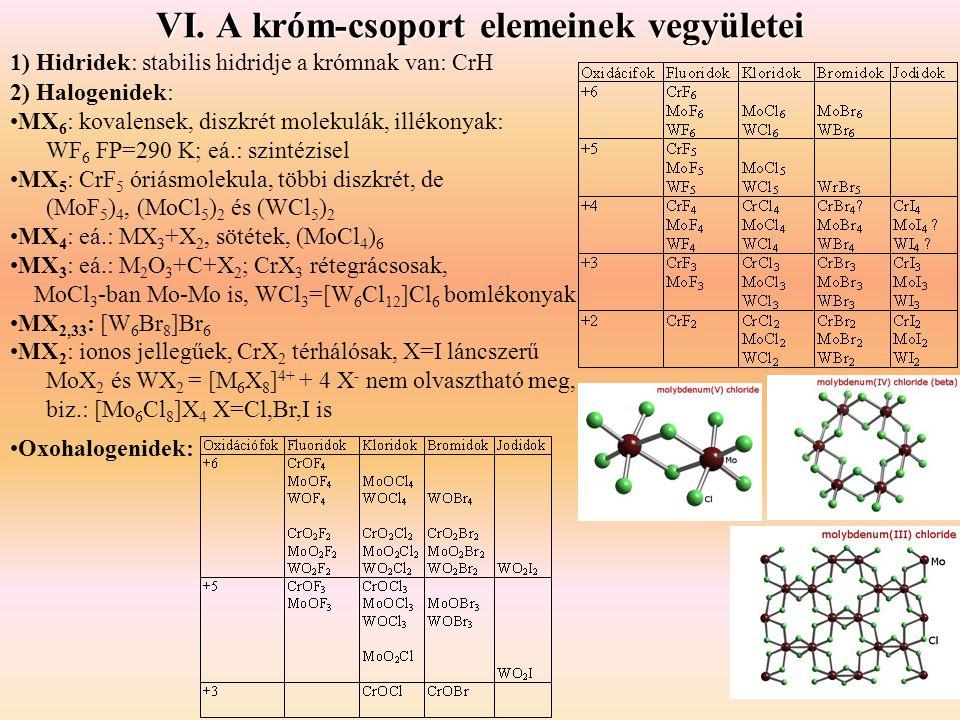 2) Halogenidek: MX 6 : kovalensek, diszkrét molekulák, illékonyak: WF 6 FP=290 K; eá.: szintézisel MX 5 : CrF 5 óriásmolekula, többi diszkrét, de (MoF