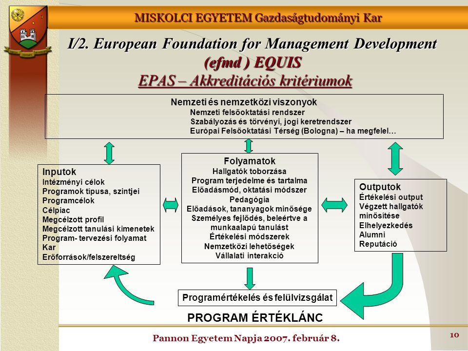 MISKOLCI EGYETEM Gazdaságtudományi Kar Pannon Egyetem Napja 2007. február 8. 10 EPAS – Akkreditációs kritériumok Nemzeti és nemzetközi viszonyok Nemze