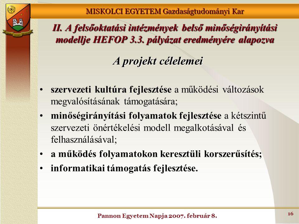 MISKOLCI EGYETEM Gazdaságtudományi Kar Pannon Egyetem Napja 2007. február 8. 16 A projekt célelemei szervezeti kultúra fejlesztése a működési változás