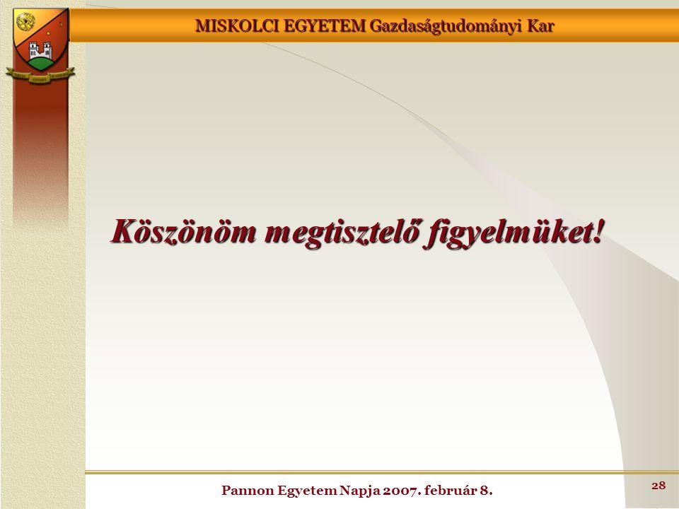 MISKOLCI EGYETEM Gazdaságtudományi Kar Pannon Egyetem Napja 2007. február 8. 28 Köszönöm megtisztelő figyelmüket!