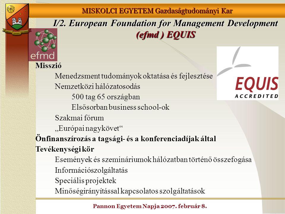 MISKOLCI EGYETEM Gazdaságtudományi Kar Pannon Egyetem Napja 2007. február 8. I/2. European Foundation for Management Development (efmd ) EQUIS Misszió