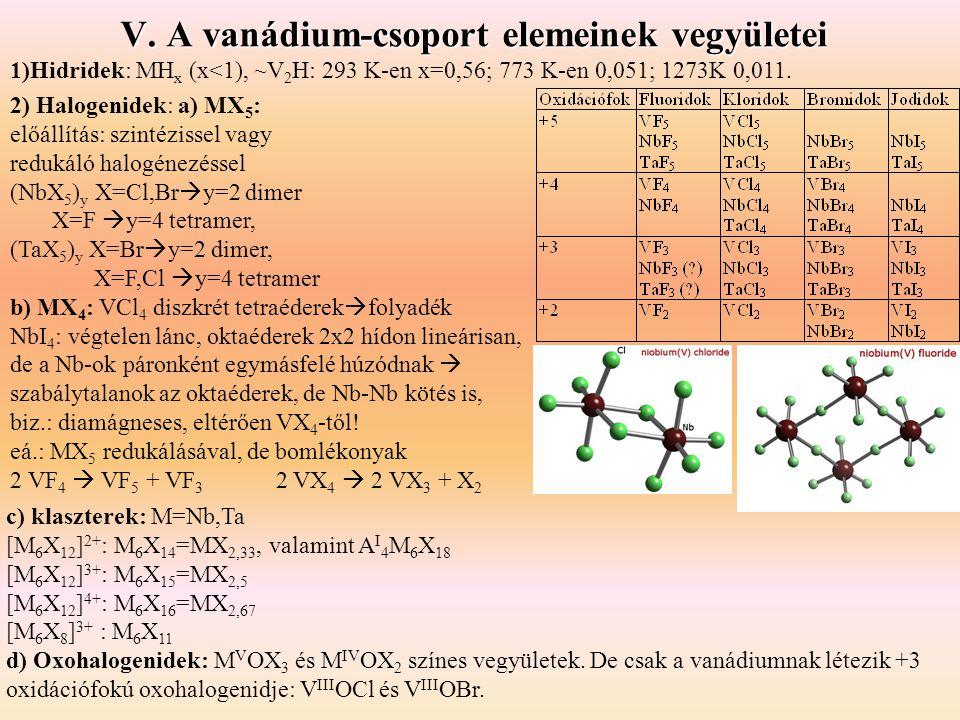 1)Hidridek: MH x (x<1), ~V 2 H: 293 K-en x=0,56; 773 K-en 0,051; 1273K 0,011. 2) Halogenidek: a) MX 5 : előállítás: szintézissel vagy redukáló halogén