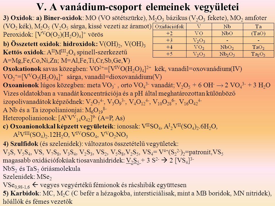 V. A vanádium-csoport elemeinek vegyületei 3) Oxidok: a) Biner-oxidok: MO (VO sötétszürke), M 2 O 3 bázikus (V 2 O 3 fekete), MO 2 amfoter (VO 2 kék),