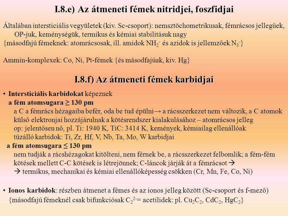 I.8.e) Az átmeneti fémek nitridjei, foszfidjai Általában intersticiális vegyületek (kiv. Sc-csoport): nemsztöchometrikusak, fémrácsos jellegűek, OP-ju