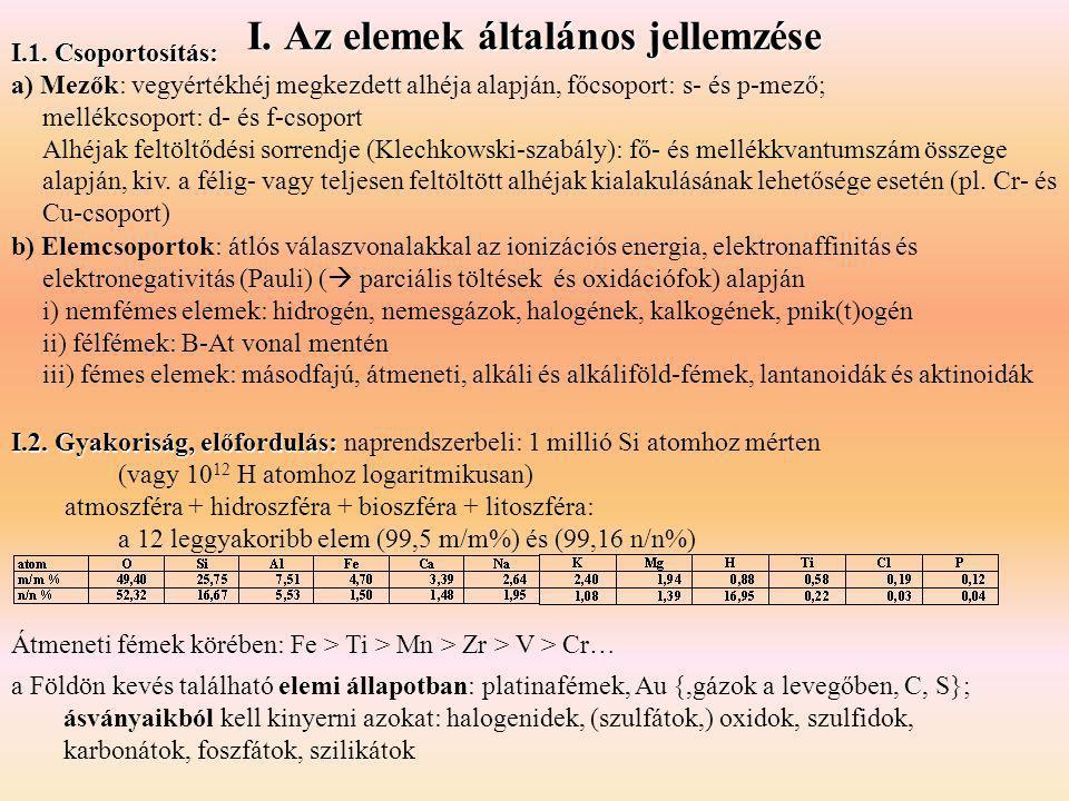 I. Az elemek általános jellemzése I.2. Gyakoriság, előfordulás: I.2. Gyakoriság, előfordulás: naprendszerbeli: 1 millió Si atomhoz mérten (vagy 10 12