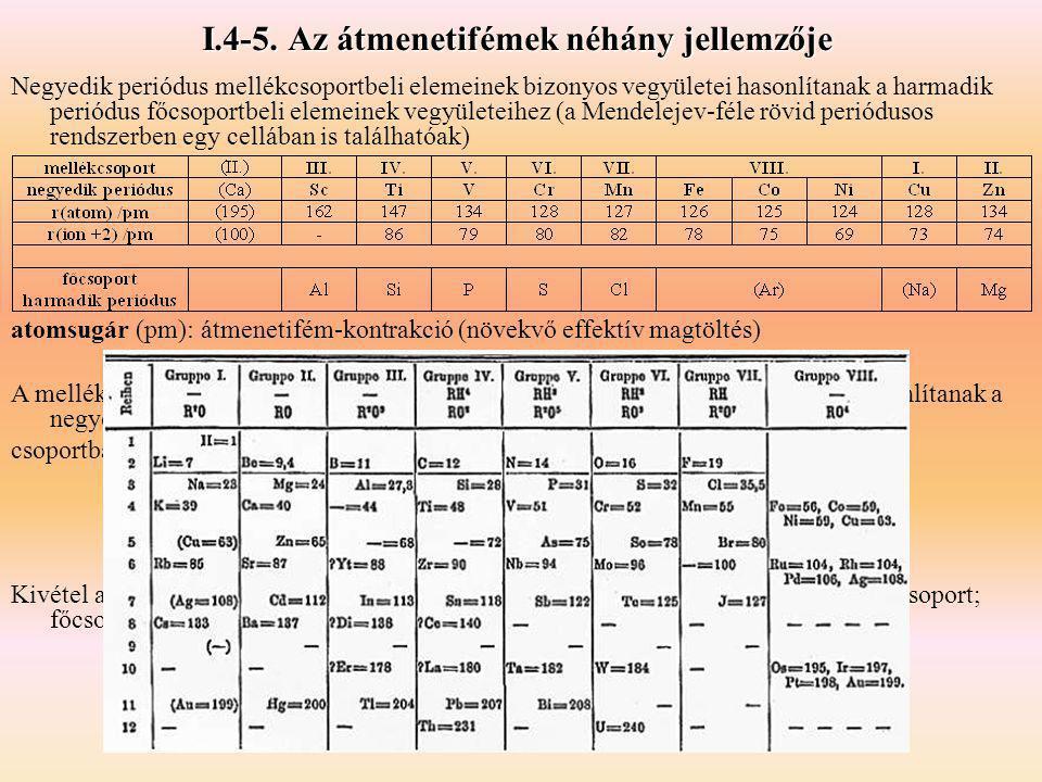 I.4-5. Az átmenetifémek néhány jellemzője Negyedik periódus mellékcsoportbeli elemeinek bizonyos vegyületei hasonlítanak a harmadik periódus főcsoport